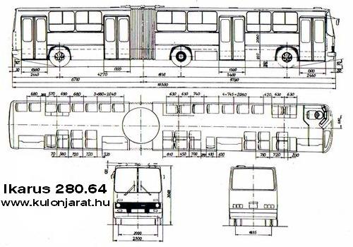 Габаритный чертеж автобуса