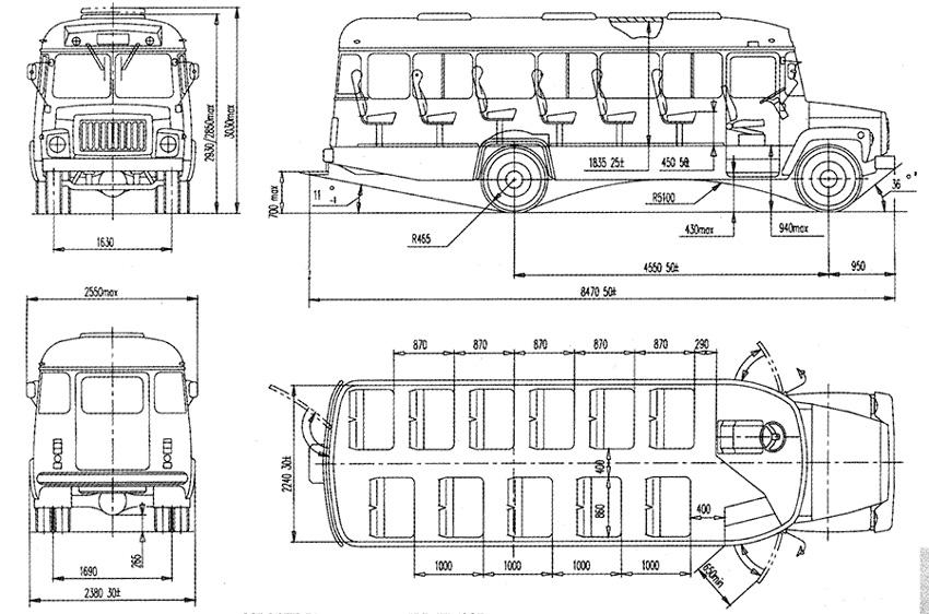 чертеж автобуса КАвЗ-39765