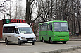 "Mercedes-Benz Sprinter  гос.# AX6359AT 200-го маршрута и ЗАЗ-А07А1.40 гос.#АХ1474АА 186-го маршрута на конечной ""Ст. м. ""Пролетарская"""""