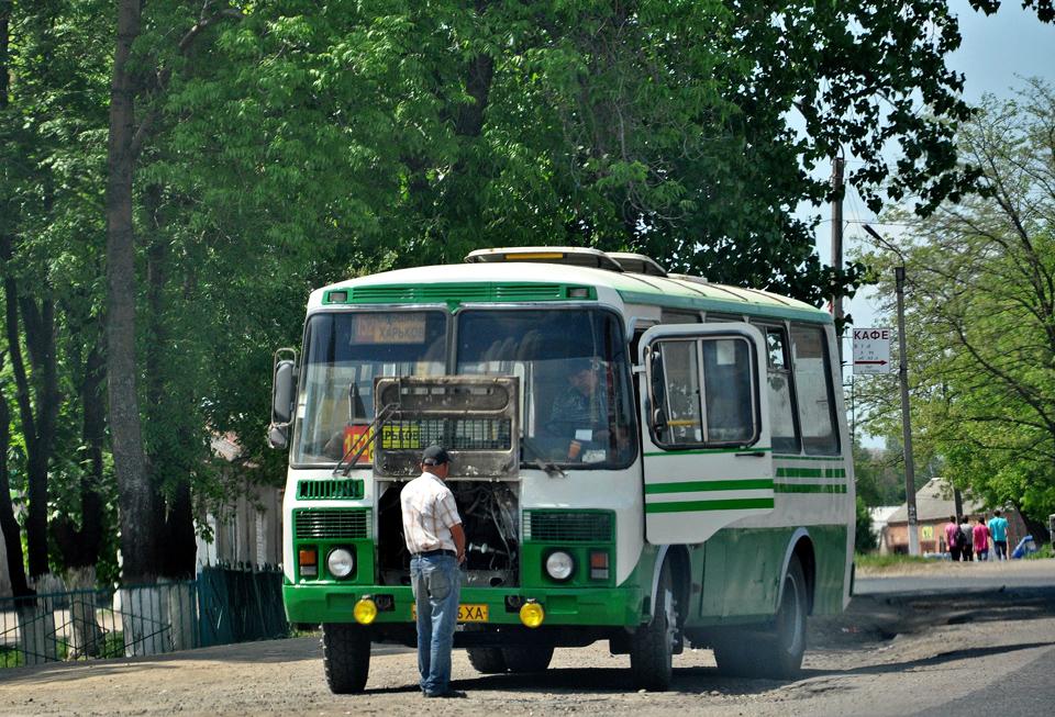 ПАЗ-32054-07 гос.018-96ХА 152-го маршрута на конечной в Ольшанах.  Дата.  Автор.