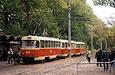 """Tatra-T3SU #688-689-690 23-го маршрута на Московском проспекте у остановки  """"Ст.м.  """"Индустриальная."""